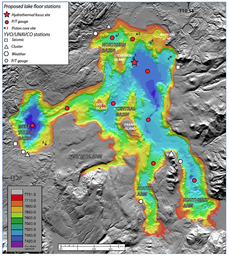 Bathymetry of Yellowstone Lake with location of planned instrument deployments and coring targets for 2016 field season.