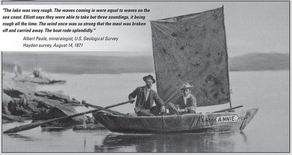 Survey boat, The Annie, with James Stevenson (left) and Chester Dawes on July 28, 1871. Photo taken by W.H. Jackson.