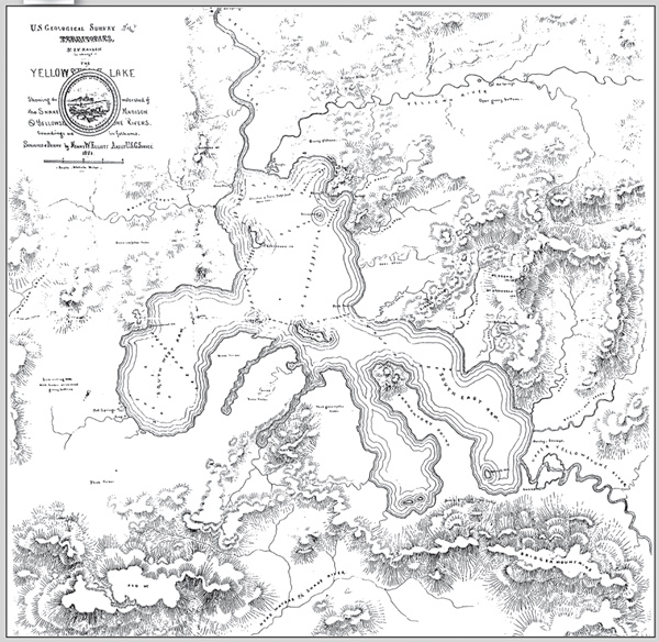 Heorv Elliott's 1871 map of Yellowstone Lake (obtained from Marlene Merrill, written commun., 2003). The headwaters of the Snake River, Upper Valley of the Yellowstone River, and Pelican River are shown. The area now known as West Thumb is referred to as the South West Arm on the map. About 300 lead-sink soundings of lake depth were taken in this survey; most locations where soundings were obtained are marked on this map (depth in feet). Also shown are several of the places where the Hayden survey camped as they traversed around Yellowstone Lake.