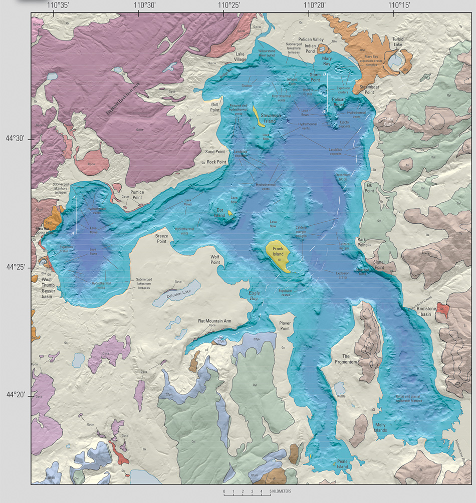 "New high-resolution bathymetric map shown as blue-shaded-relief map of Yellowstone Lake, acquired by multibeam-sonar imaging, surrounded by a colored geologic map of the area around Yellowstone Lake (U.S. Geological Survey, 1972). The new map of the lake shows previously unknown features, such as an -550-m-wide hydrothermal-explosion crater (east of Duck Lake); a 700-m-wide explosion crater south of Frank Island; and numerous hydrothermal vents, fissures, submerged lakeshore terraces, landslide deposits, and rhyolitic lava flows that underlie 7 to 10m of postgla-cial sediments in West Thumb basin (Morgan and others, 2003; Johnson and others, 2003; Otis and others, 1977). In the F D Map of Yellowstone Lake and geol-ogy around the lake as mapped in the Hague survey (Hague, 1896). ""• , .. 110""30' II 0""15' 110""30' I • ,,, ""t"" -,., II 0""10' 0 1 2 3 4 5 ~ll0MET£~S ~-o,,..., ~ .... 1 'I ,. ·• ,. ' ' ' '""' r ""'""'.~._ ... ~ ""· , .• ,.,,r; ,;. 11 I _I ""' \ '""~· Prom~~IOt.)' •• ... ,.,, 110""10' . ~ Tmo . "" .. ' """"""' '''""''' ... I ' ... .............. ,, ·' ' ,, ' ,\:;:• ,. '\'>'. ;I . ..1'""-. ' '""'""' •il'' '). I ••• ' \ ~-""'''' ' rJ' · .. &"" -' ' . .. '"" '""-~·· .. Bathymetric map of Yellow-stone Lake by Kaplinski (1991) 11 0""20' 110""15' northern basin, large hydrothermal-explosion craters in Mary Bay and south-southeast of Storm Point, numerous smaller craters related to hydrothermal vents, landslide deposits along the eastern margin of the lake near the caldera margin (fig. 1), and postcaldera rhyolitic lava flows shape the lake basin. Glacial deposits (not shown in the northern basin in order to emphasize the postcaldera rhyolitic lava flows) are present throughoutthe lake and mantle the lava flows. Fissures west of Stevenson Island and the graben north of Stevenson Island may be related to extension along the young Eagle Bay fault."