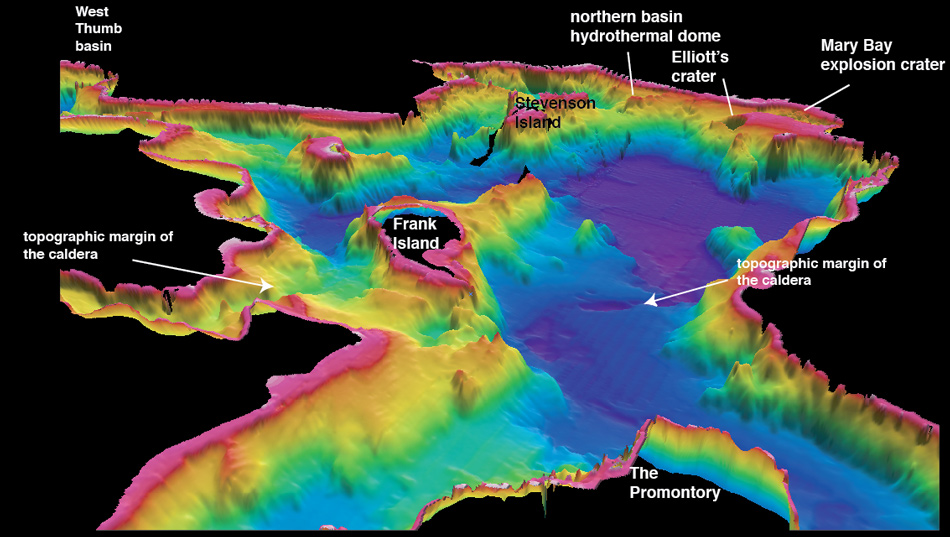 Figure 5. Oblique bathymetric image of Yellowstone Lake viewed from the Promontory northward into the 640,000-year-old Yellowstone caldera.