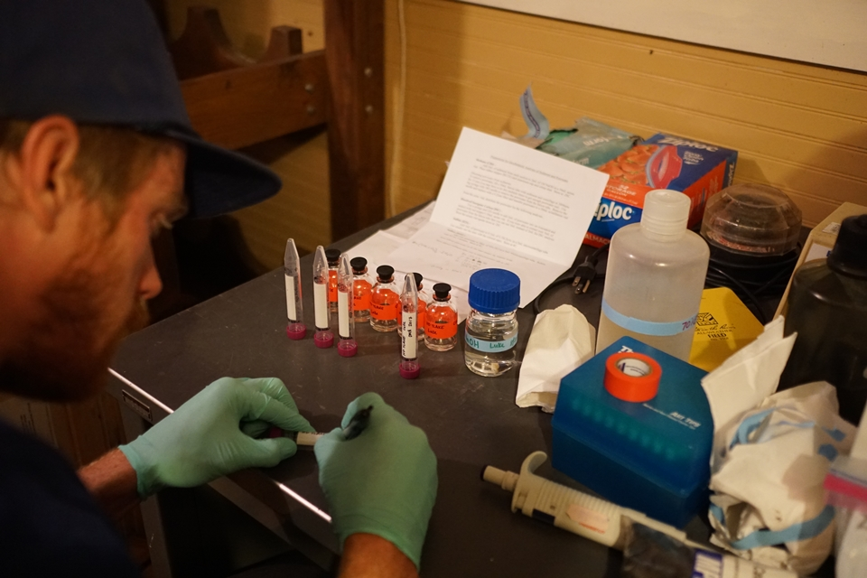 Luke preparing bio Samples